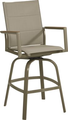 Solana Taupe Outdoor Swivel Barstool