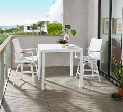 Solana White 3 Pc Outdoor Balcony Dining Set with Swivel Stools