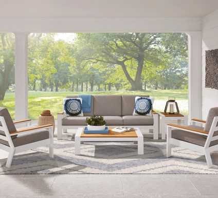 Solana White 4 Pc Outdoor Seating Set with Gray Cushions