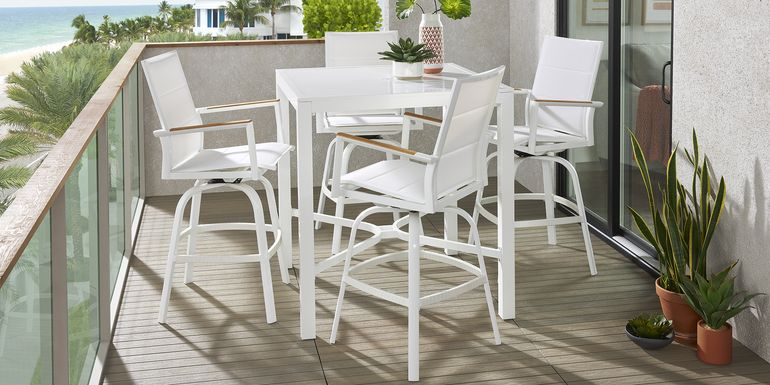 Solana White 5 Pc Outdoor Bar Height Dining Set with Swivel Barstools