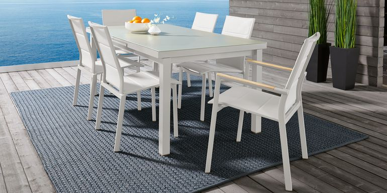 Solana White 7 Pc 71-94 in. Rectangle Outdoor Dining Set
