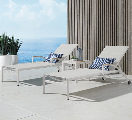 Solana White Outdoor Chaises, Set of 2