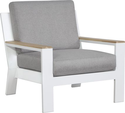 Solana White Outdoor Club Chair with Gray Cushions