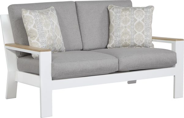 Solana White Outdoor Loveseat with Gray Cushions