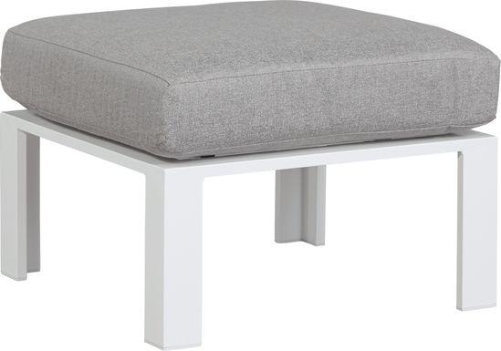 Solana White Outdoor Ottoman with Gray Cushion