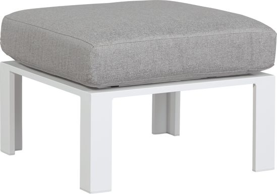 Solana White Outdoor Ottoman with Gray Cushion
