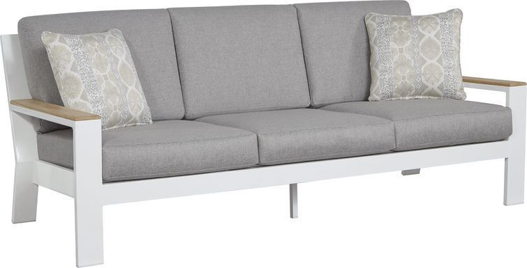 Solana White Outdoor Sofa with Gray Cushions