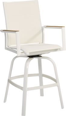 Solana White Outdoor Swivel Barstool