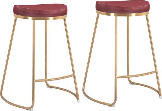 Sonali Burgundy Counter Height Stool, Set of 2