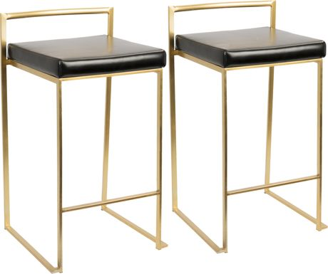 Sora Black Gold Counter Height Stool (Set of 2)