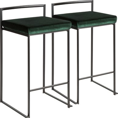 Sora Green Chrome Counter Height Stool (Set of 2)