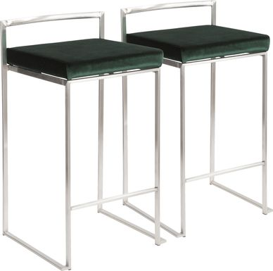 Sora Green Silver Counter Height Stool (Set of 2)