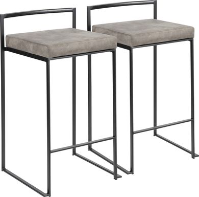 Sora Stone Chrome Counter Height Stool (Set of 2)