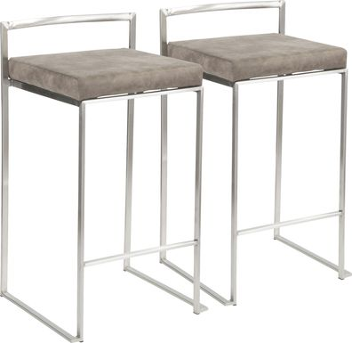 Sora Stone Silver Counter Height Stool (Set of 2)