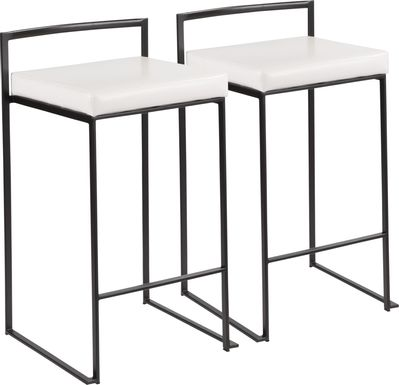 Sora White Ultra Hyde Black Metal Counter Height Stool (Set of 2)