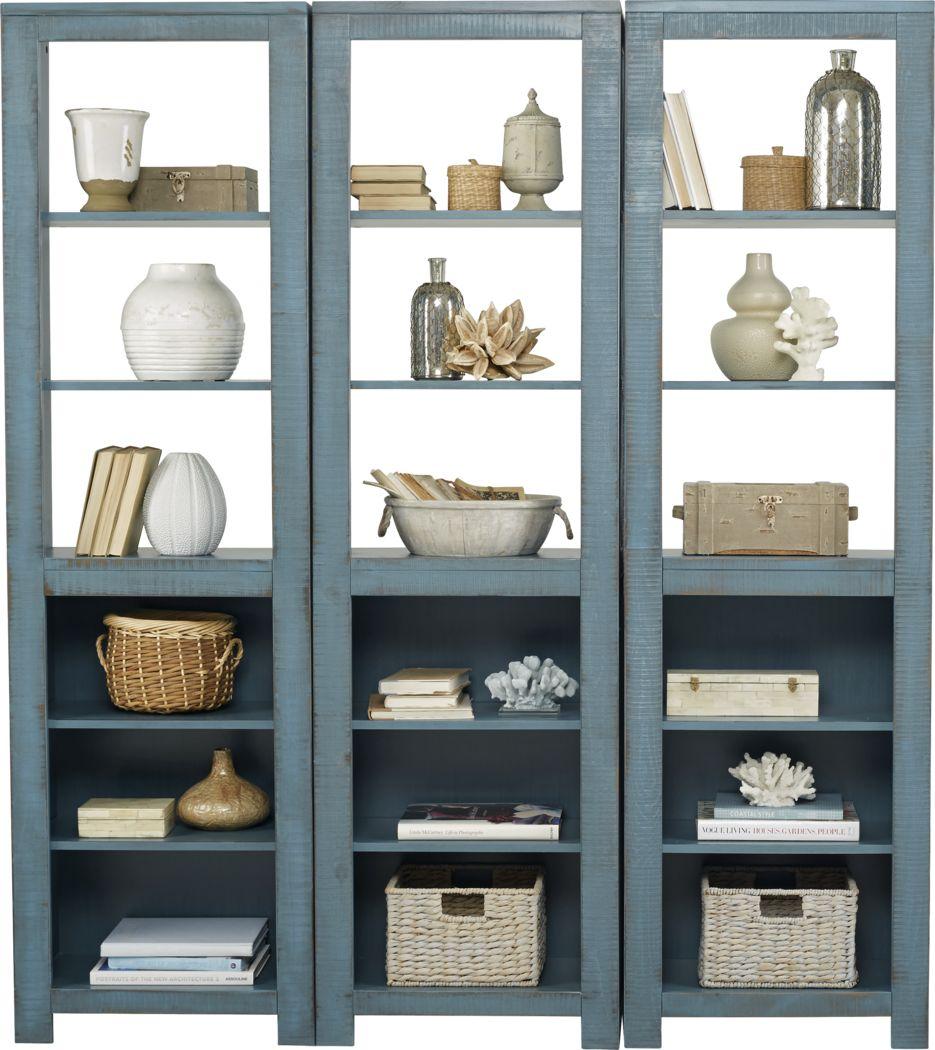 South Creek Blue 3 Pc Bookcase Set
