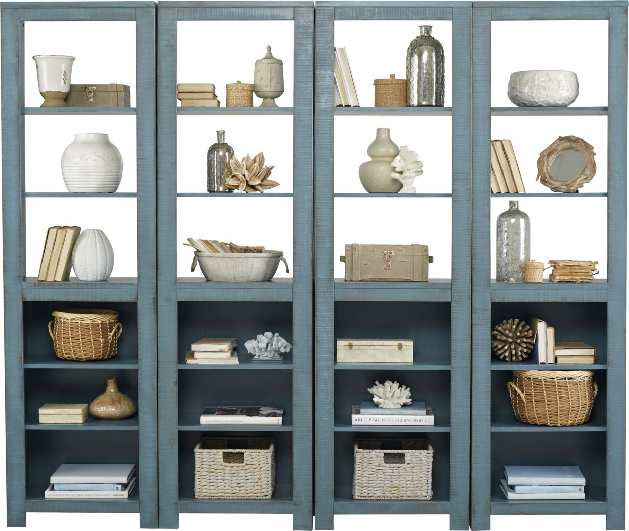 South Creek Blue 4 Pc Bookcase Set