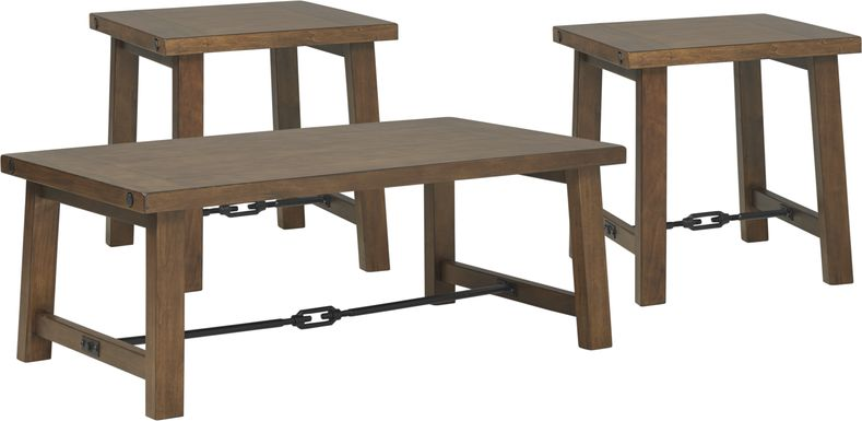South River Brown 3 Pc Cocktail Table Set