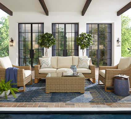 Southport Tan 4 Pc Outdoor Seating Set