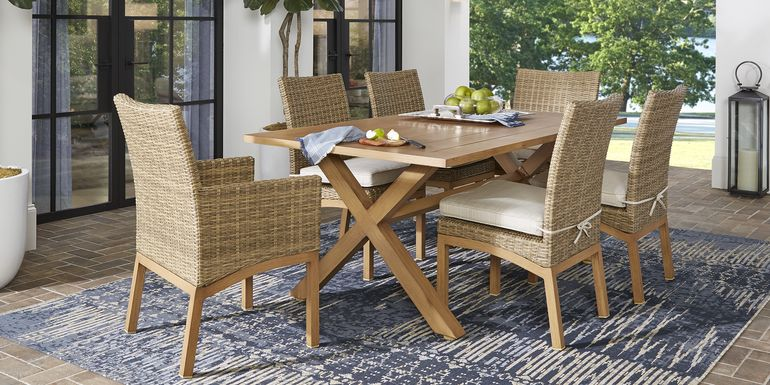 Southport Tan 7 Pc Outdoor Dining Set