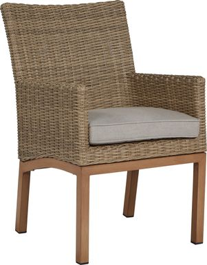 Southport Tan Outdoor Wicker Arm Chair