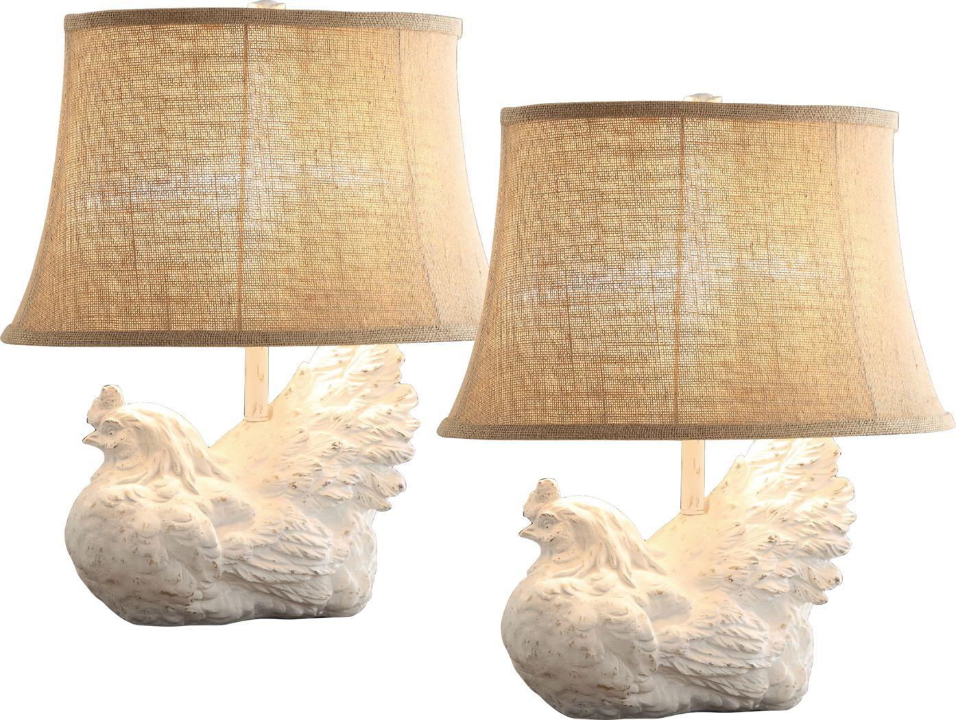 Spring Chicken White Lamp, Set of 2