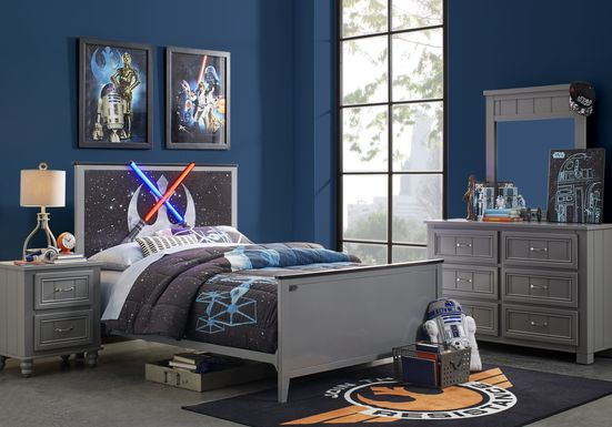 Star Wars Lightsaber™ Gray 3 Pc Twin Panel Bed