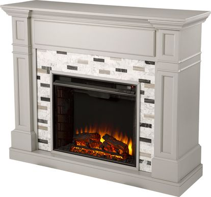 Stembridge I Gray 48 in. Console With Electric Log Fireplace