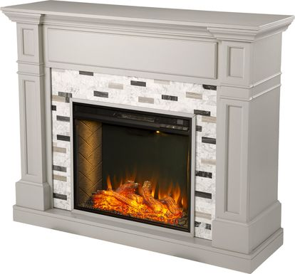 Stembridge II Gray 48 in. Console With Smart Electric Fireplace
