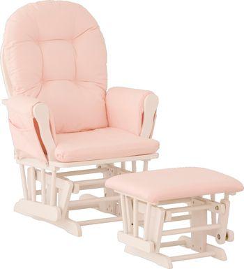 Nursery Stork Craft Hoop Glider & Ottoman - White/Pink