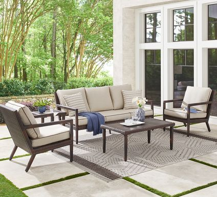 Summerset Way Brown 4 Pc Outdoor Seating Set with Sandstone Cushions