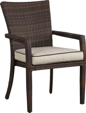 Summerset Way Brown Outdoor Arm Chair with Sandstone Cushion