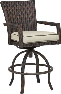 Summerset Way Brown Outdoor Balcony Stool with Sandstone Cushions