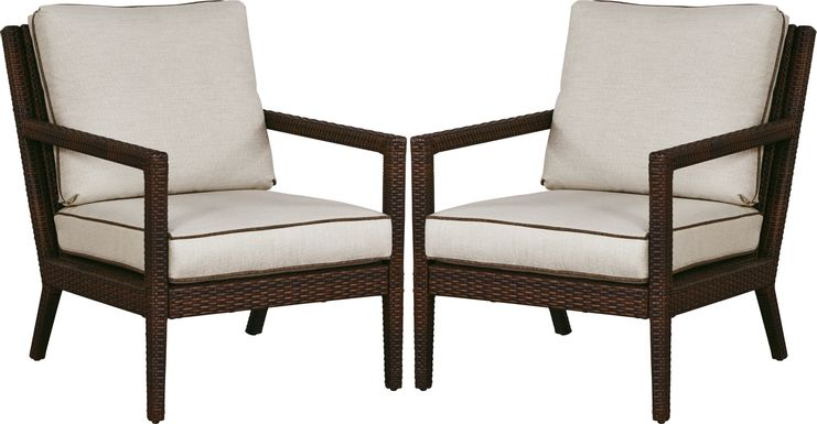 Summerset Way Brown Outdoor Chair with Sandstone Cushions (Set of 2)