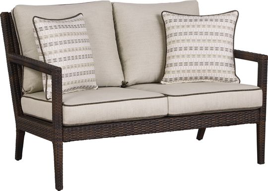 Summerset Way Brown Outdoor Loveseat with Sandstone Cushions