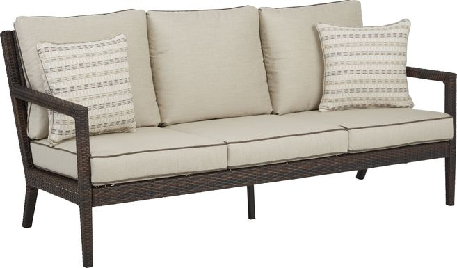 Summerset Way Brown Outdoor Sofa with Sandstone Cushions