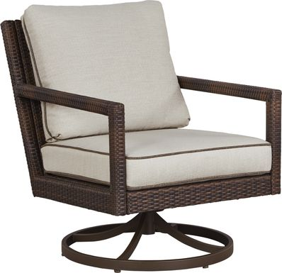 Summerset Way Brown Outdoor Swivel Rocker with Sandstone Cushions
