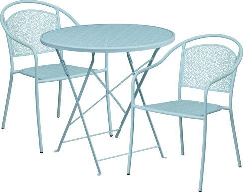 Sunnyside Terrace Blue 3 Pc 30 in. Round Folding Patio Set