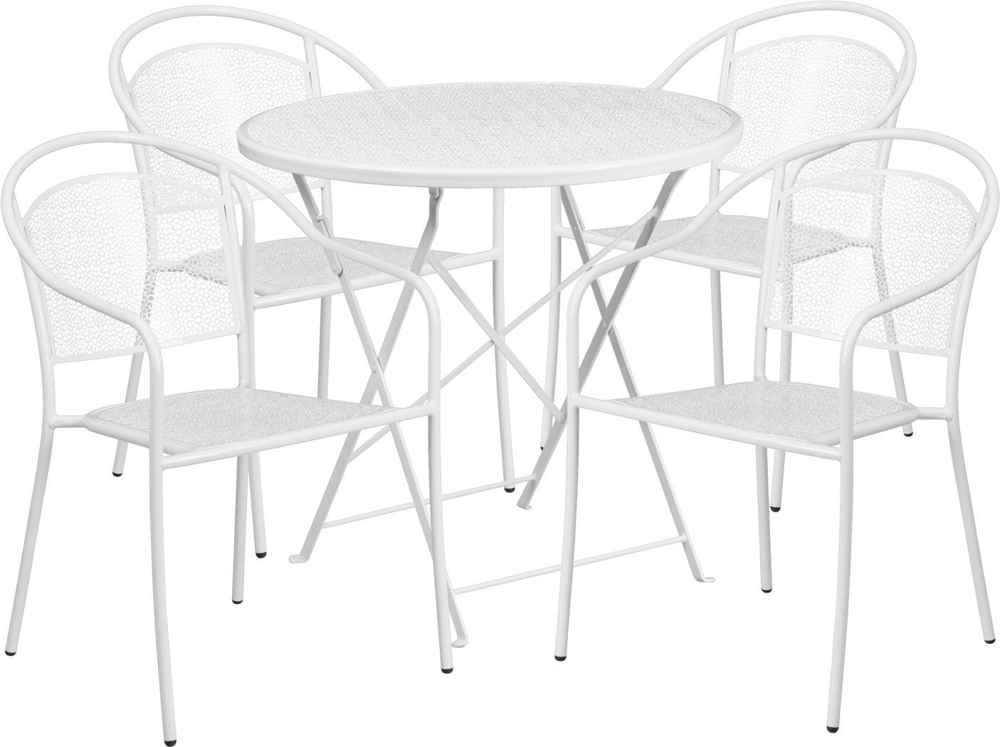 Sunnyside Terrace White 5 Pc 30 in. Round Folding Patio Set