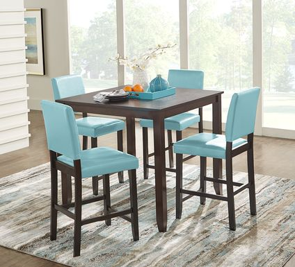 Sunset View Brown Cherry 5 Pc Counter Height Dining Set with Blue Stools