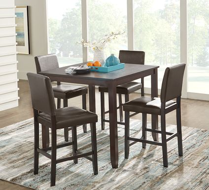 Sunset View Brown Cherry 5 Pc Counter Height Dining Set with Brown Stools