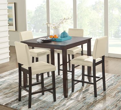 Sunset View Brown Cherry 5 Pc Counter Height Dining Set with Cream Stools