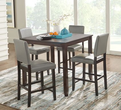 Sunset View Brown Cherry 5 Pc Counter Height Dining Set with Gray Stools