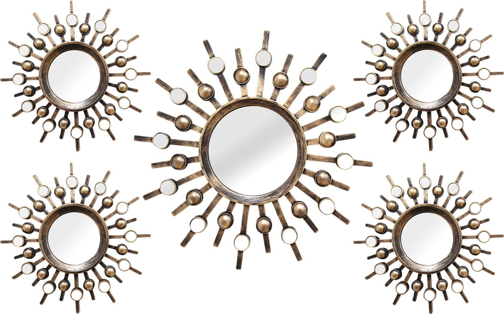 Super Burst Gold Mirrors Set of 5