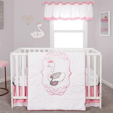 Swan Lullaby Gray 3 Pc Baby Bedding Set