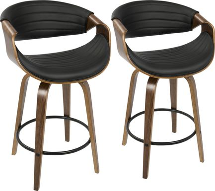 Symphony Place Black Counter Height Swivel Stool (Set of 2)