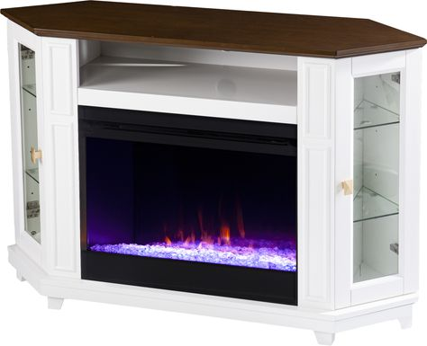 Taliferro I White 46 in. Console, With Electric Fireplace