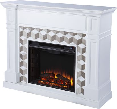 Talmadge I White 48 in. Console With Electric Log Fireplace