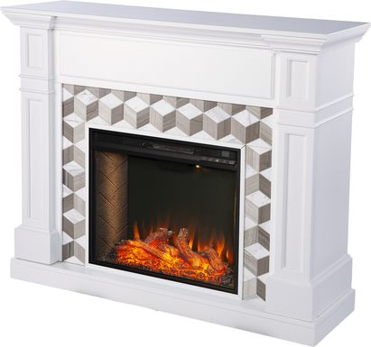 Talmadge II White 48 in. Console With Smart Electric Fireplace