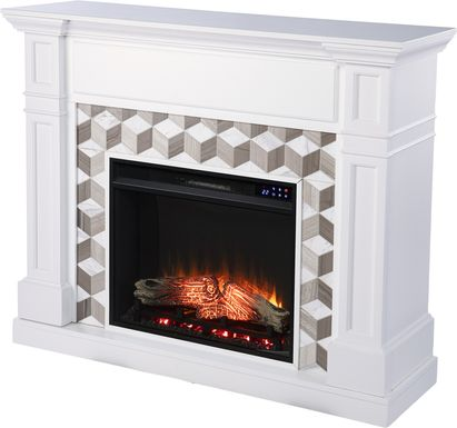Talmadge IV White 48 in. Console With Electric Fireplace